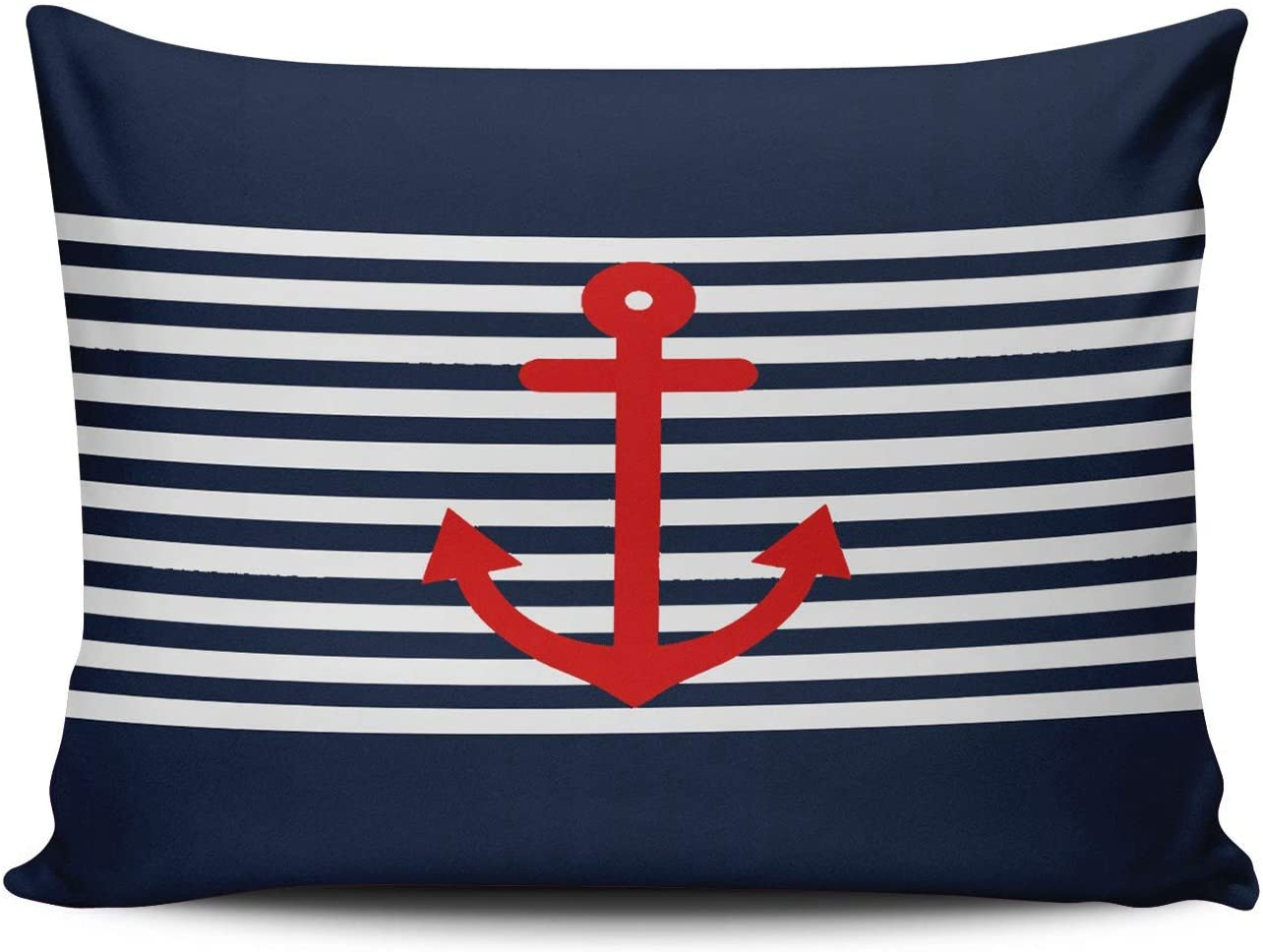 XIAFA Home Custom Pillowcase Red Anchor on Navy Blue Nautical Simple Decorations Sofa Throw Pillow Case Cushion Cover One Sided Printed Design Lumbar 12X20 Inch (Set of 1)