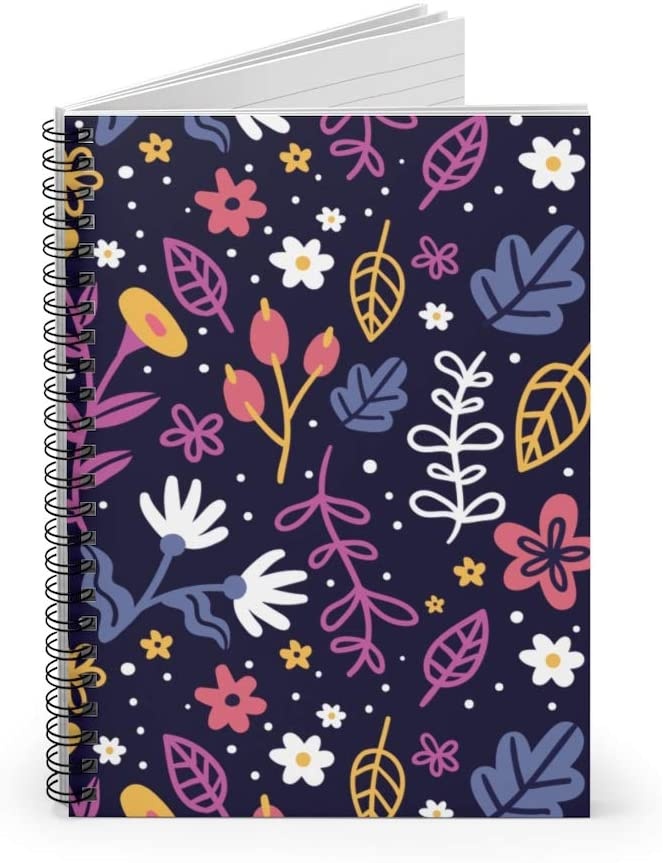 Patron Floral Pattern Spiral Notebook Spring Watercolor Flower Violet Ruled Notebook Diary Journal Lined Notebook Gift