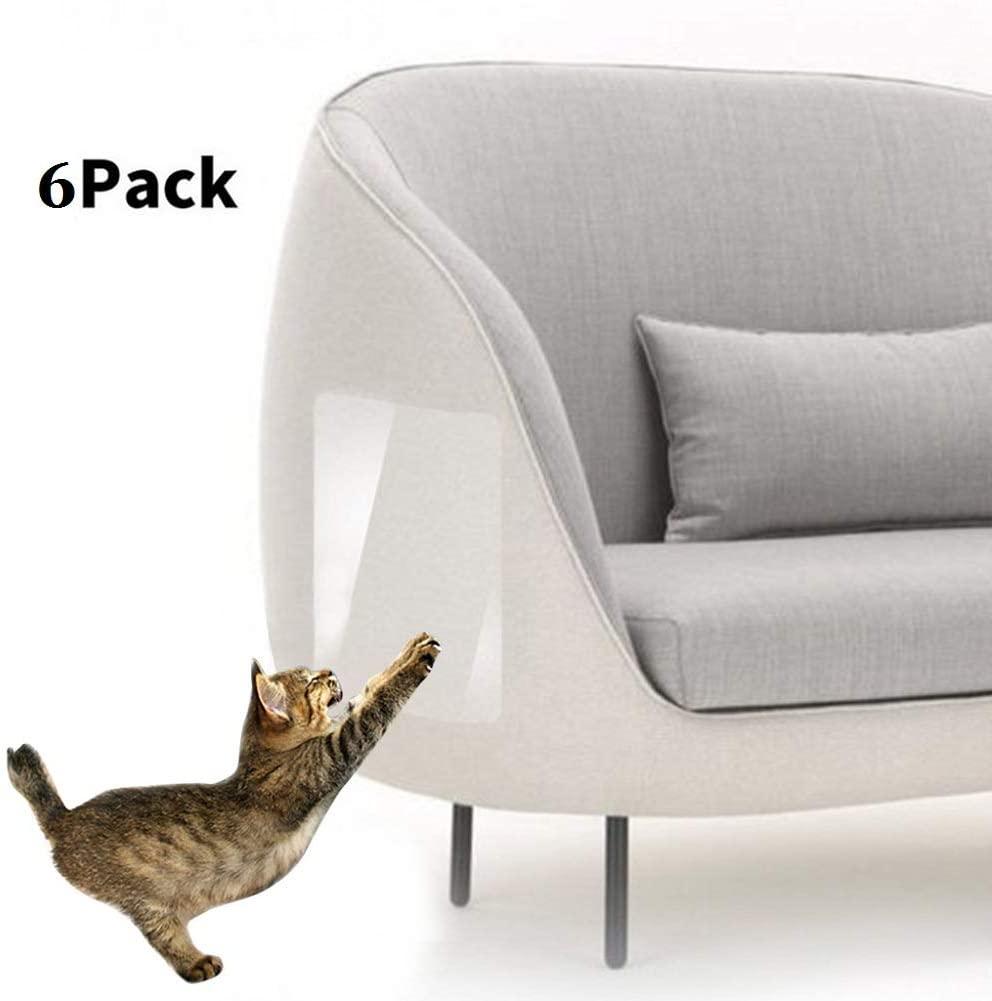 CheeseandU Cat Scratch Deterrent Tape,Cat Couch Protector,Double Sided Clear Anti-Scratch Cat Deterrent Training Tape, Scratching Pads Scratching Guard Cat Furniture Protector,6Pack(11.8x5.9)