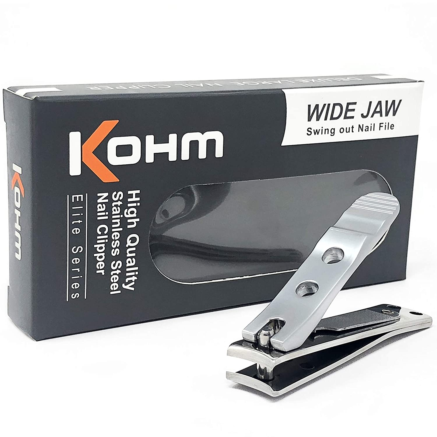 Kohm WHS-440L Heavy Duty, Curved Blade, Wide Jaw Toenail Clippers for Thick Nails, Large Nail Clippers for Men, Seniors, Women, Nail Clipper with File