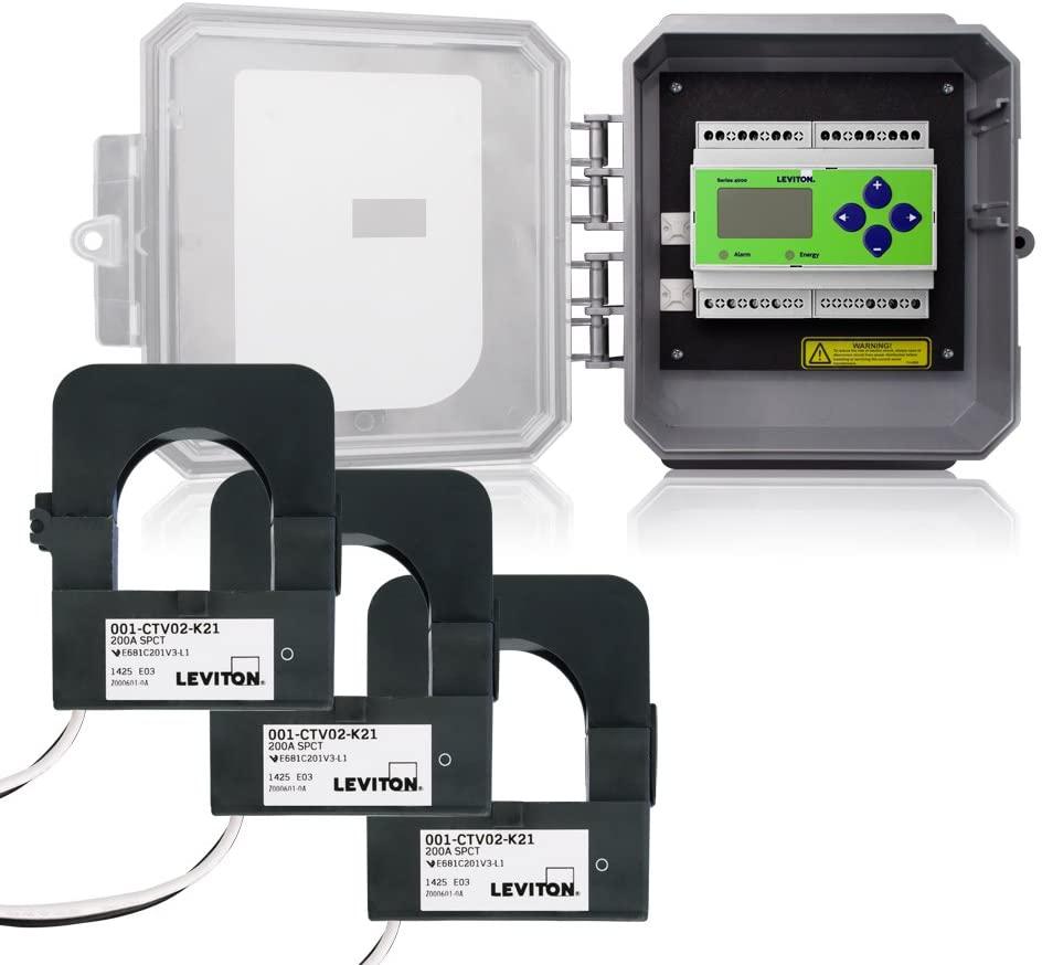 Leviton 41OUM-2M VerifEye Series 4100 Outdoor NEMA Enclosure Modbus Meter Kit, Split Core Transformers, 200-Amp, See Image