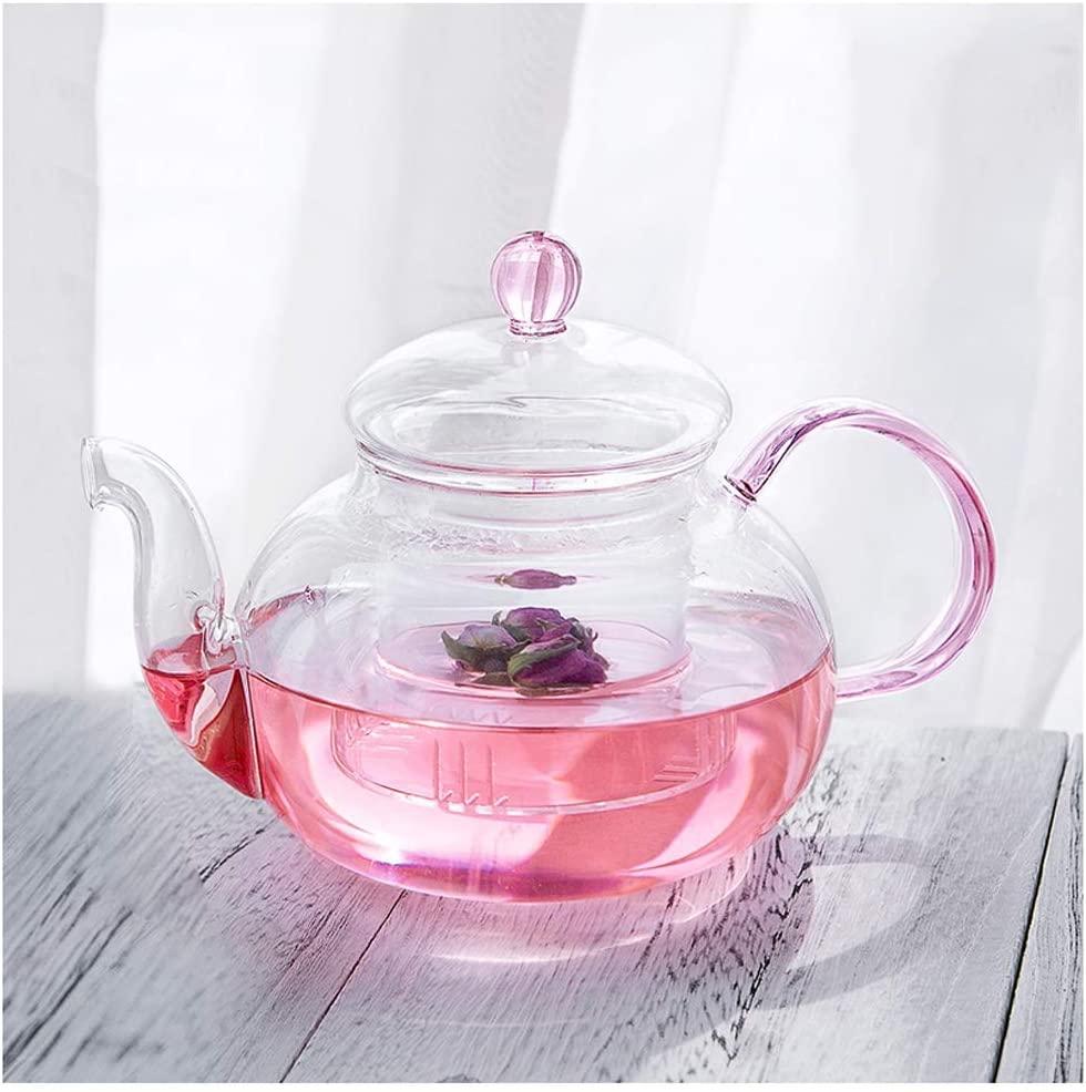 Fashion Tea Kettle Heat Resistant Glass Filter Teapot Round Flower Teapot High Temperature Glass Tea Set Home Office Teaware Set Teapots (Size : 1pcs)