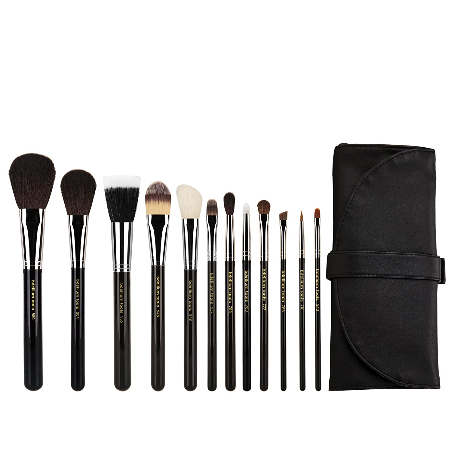Bdellium Tools Professional Makeup Maestro Series Complete 12pc. Brush Set with Roll-up Pouch