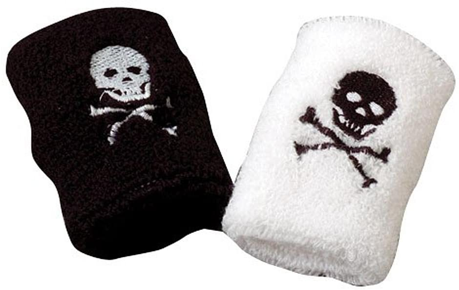 U.S. Toy Black & White Pirate Jolly Roger Terrycloth Wristbands Set of 2