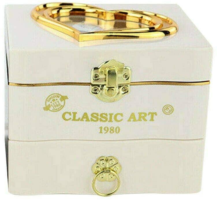 VERY100 Wedding Rotating Ballerina Dancing Girl with Mirror Jewelry Storage Music Box (White)