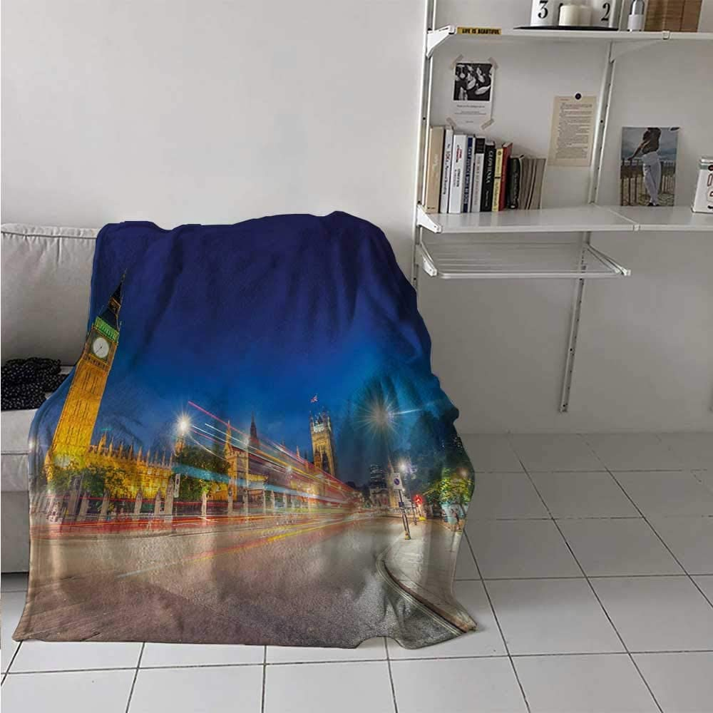 painting-home Bed Blanket Night View of Big Ben and Westminster Palace Parliament Square London England Cooling Blanket for Kid Baby Toddler Teenager Blue Silver Yellow 54 x 84 Inch