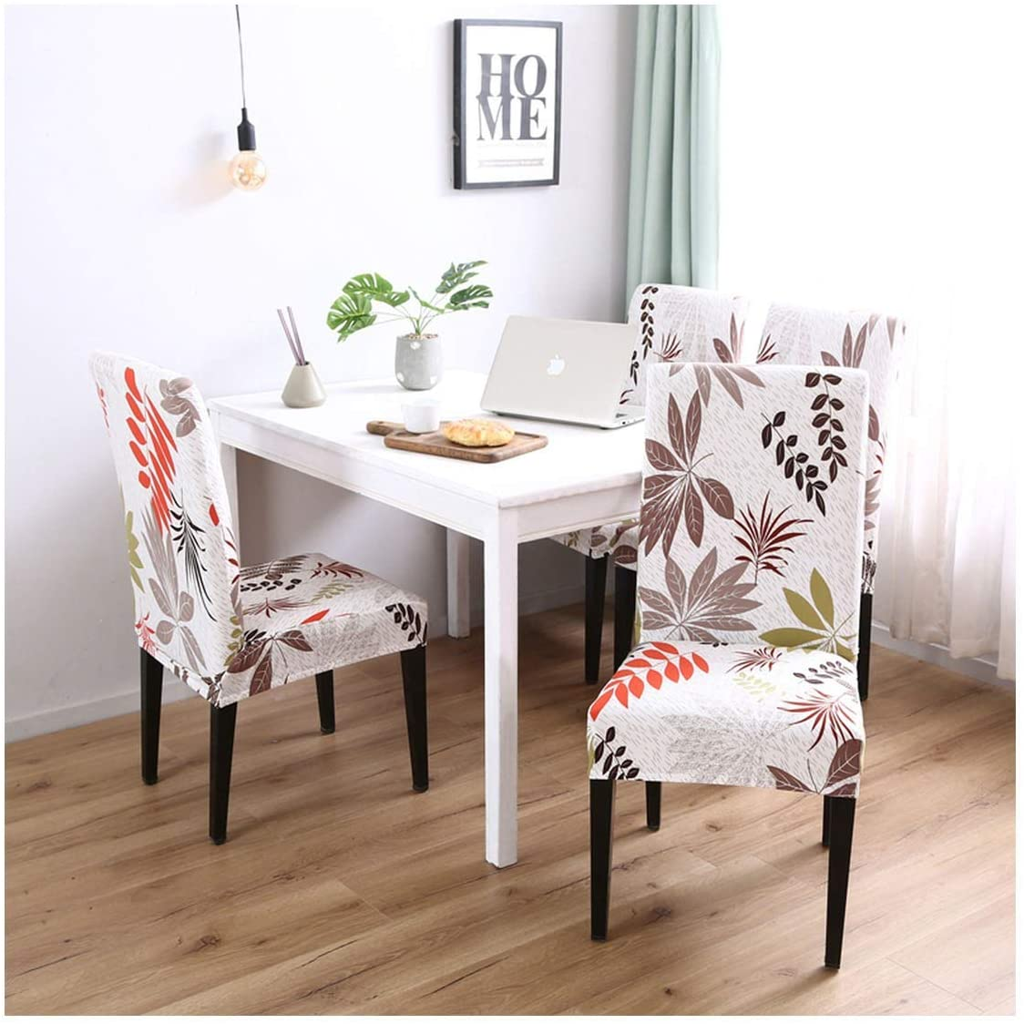 ECROZS Office Chair Covers for Dining Room Wedding Chair Cover Elastic Leaves Printed,Color 22,1 pc