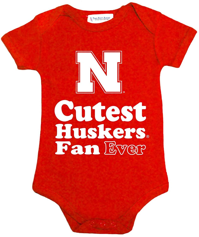 Two Feet Ahead NCAA Nebraska Cornhuskers Children Unisex Lap Shoulder Creeper,12 Mo,Red