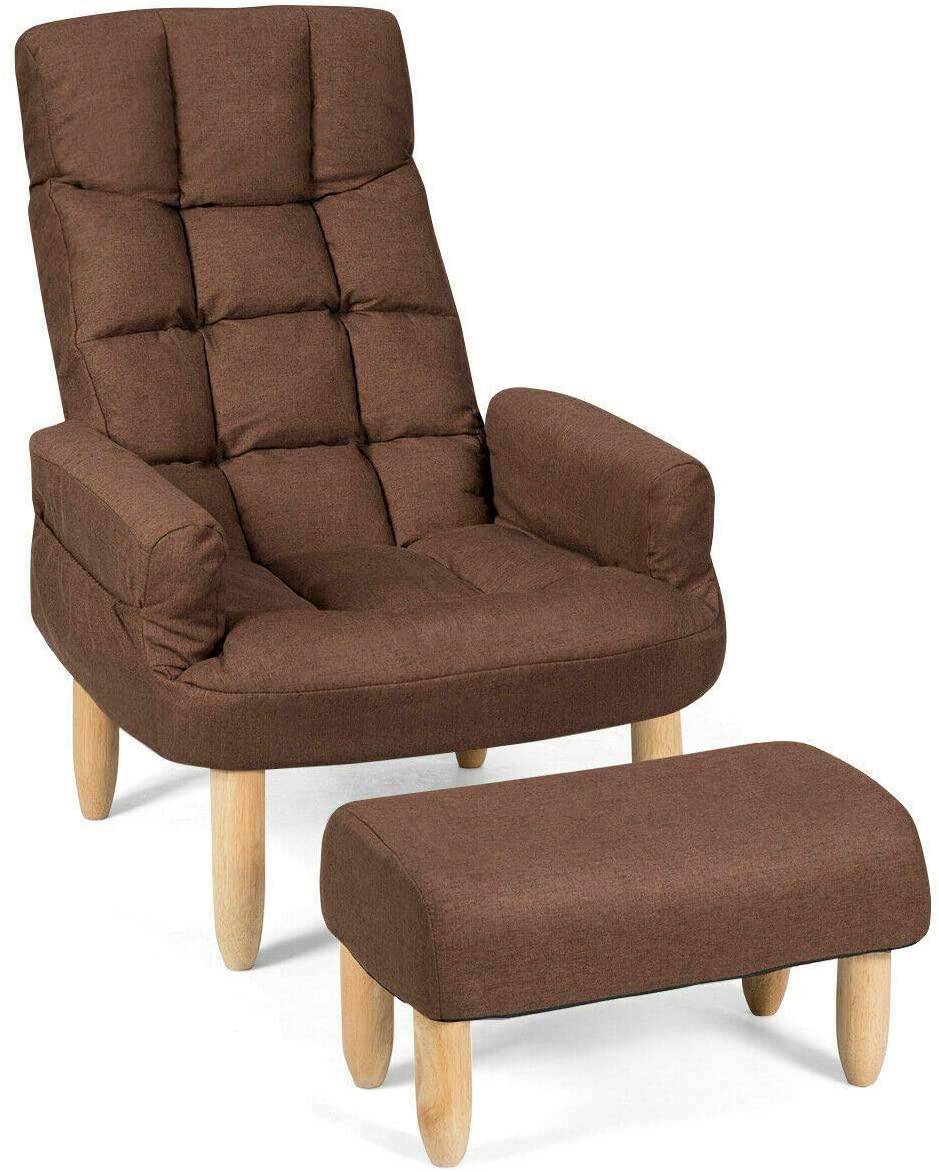 jassi.jae Sofa Lazy Sofa Armchair Adjustable Backrest & Headrest Living Room w/Ottoman Brown
