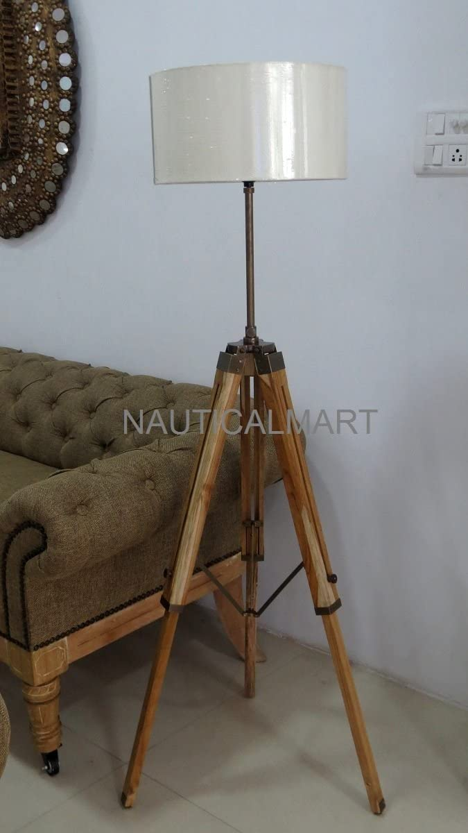 NAUTICALMART Antique Finish Brown Wooden Tripod Floor LAMP for Living Room