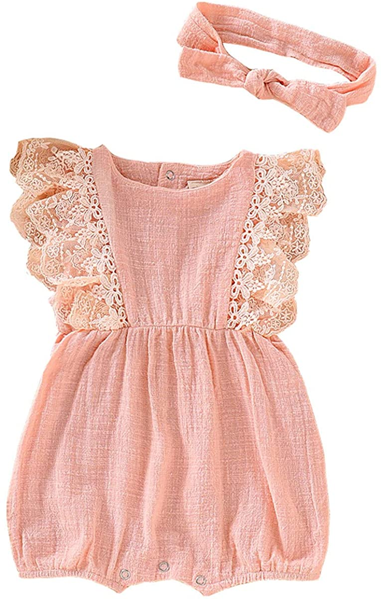 Infant Baby Girl Sleeveless Linen Romper Bodysuit Outfit Lace Pink Onesie Jumpsuit Summer Sunsuit Clothes