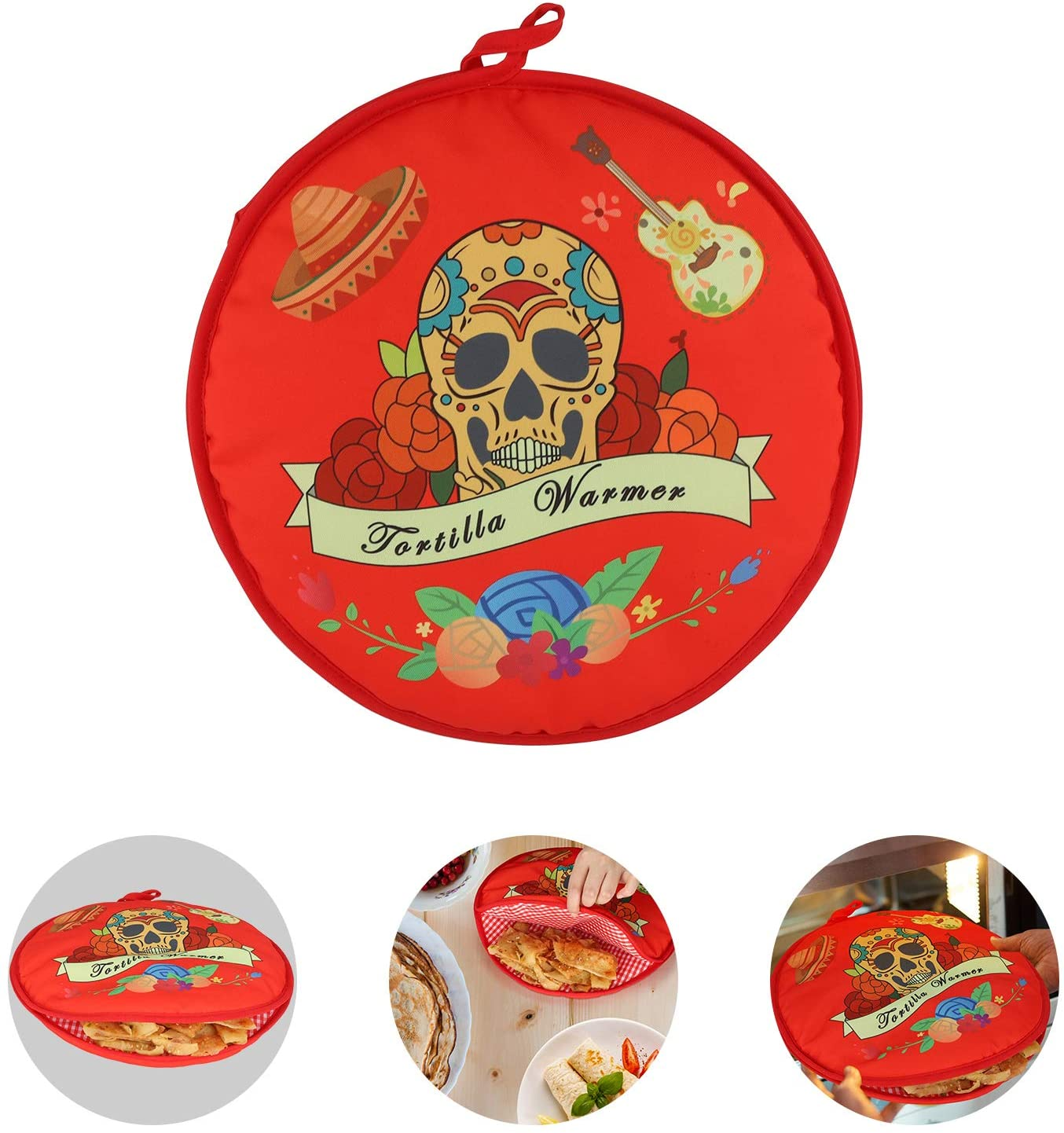 COAWG TWO SIDED Tortilla Warmer 12 Inch Insulated and Microwaveable Fabric Holder Pouch Keeps Tortillas Warm for up to One Hour(Red)