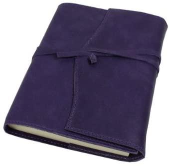 Milano Refillable Handmade Italian Aubergine/Purple Leather Lined Journal - 12 x 17 cm