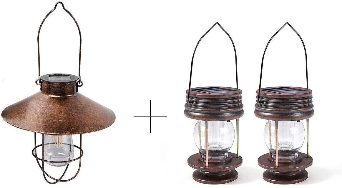 1pack Copper Solar Lantern + 2pack Hanging Solar Lanterns - Warm Light