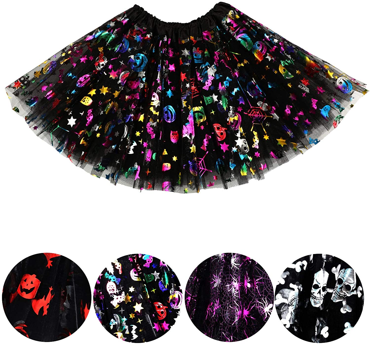 4 Pieces Halloween Tutu Skirts Girls Tulle Skirt Layers Sequin Skirt for Halloween Cosplay Accessories (Color 4)
