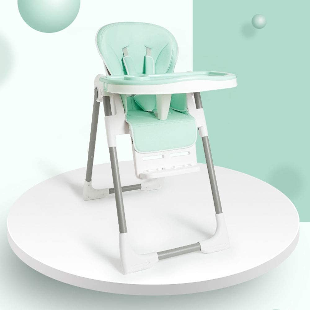 Jiu Si- Baby high chair - metal + PU seat cushion, 6 months - 4 years old baby multi-function multi-speed adjustment free installation collapsible portable dirty safety baby eating seat stool - 6 colo