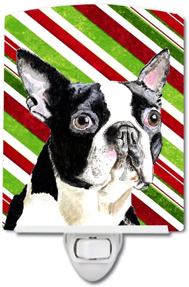 Carolines Treasures SC9320CNL Boston Terrier Candy Cane Holiday Christmas Ceramic Night Light, 6x4x3, Multicolor