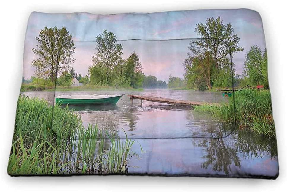 carmaxs Pet Placemat Lake House Decor Collection for Food and Water Li River Between Guilin and Yangshuo in Guangxi Province China Summer Panorama Image Peach Green