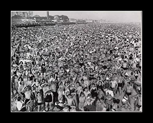 8 x 10 All Wood Framed Photo Large Crowd 1940_Coney_Island_Beach