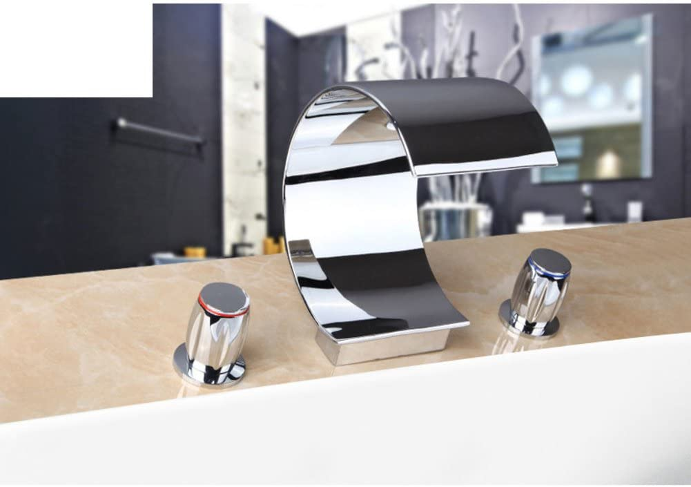 Separated Bathtub Faucet hot and Cold/Bathroom Faucet Three-Set/Waterfall Wide Water taps-A