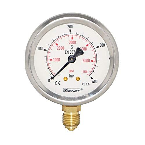 Stauff Pressure Gauge 2-1/2 (63MM) Dial Face, Stainless Steel Case, 0-160 Bar Range, 1/4 NPT Brass Male Thread, Bar & PSI Scale, Bottom Connection