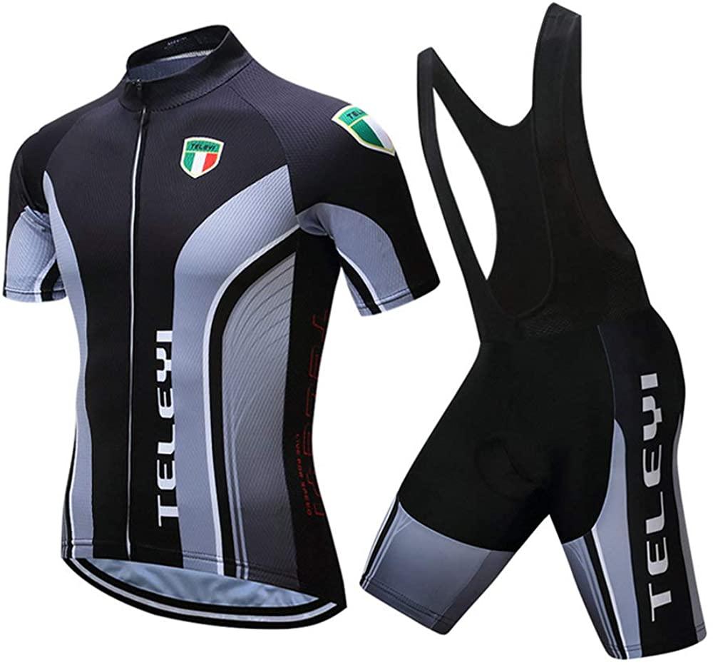 VIa Cycling Jerseys Men's Short Sleeve and Bib Shorts Set Bicycle Jersey Summer Breathable Jersey V397