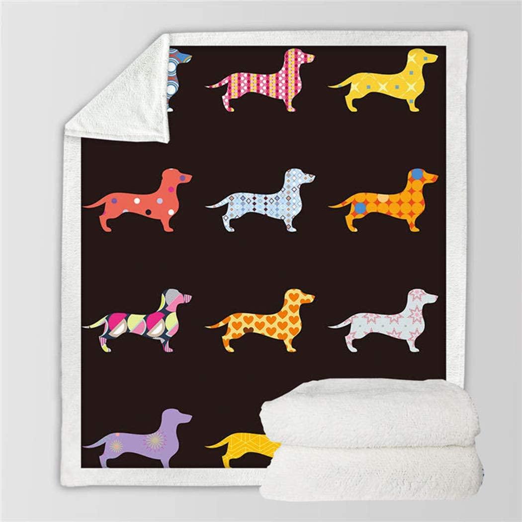ZIHUAD Bedding Bed Cover Blankets Flannel Sausage Dog Children Blanket Sofa blanket-A-130150Cm