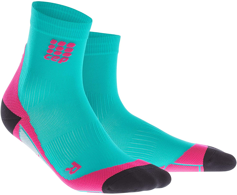 CEP Womens Crew Cut Athletic Performance Running Sock (Lagoon/Pink) III