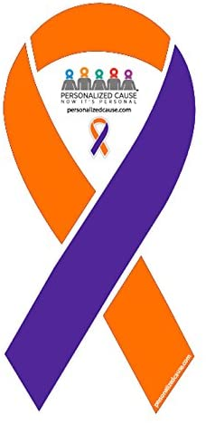 Orange and Purple Vinyl Automotive / Car / Truck / Refrigerator Cause Awareness Ribbon Magnet