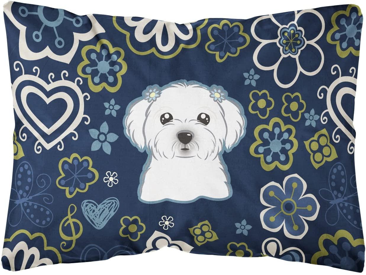 Caroline's Treasures BB5059PW1216 Blue Flowers Maltese Canvas Fabric Decorative Pillow, 12H x16W, Multicolor