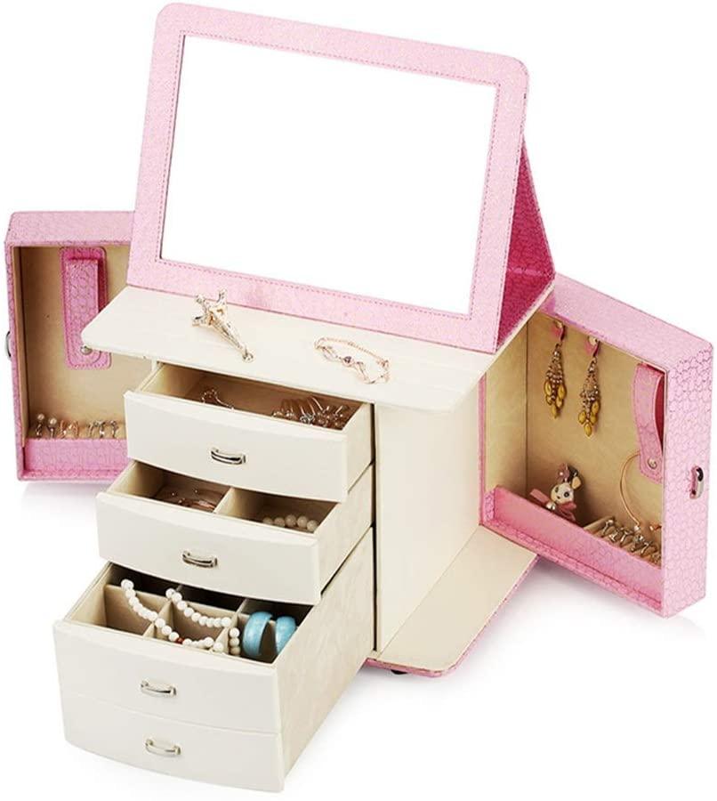PUEEPDEE Jewelry Box Pink Jewellery Box Organiser,Jewellery Box Jewellery Armoire Necklace Ring Bracelet Storage Holder Jewelry Box for Girls (Color : Pink, Size : One Size)