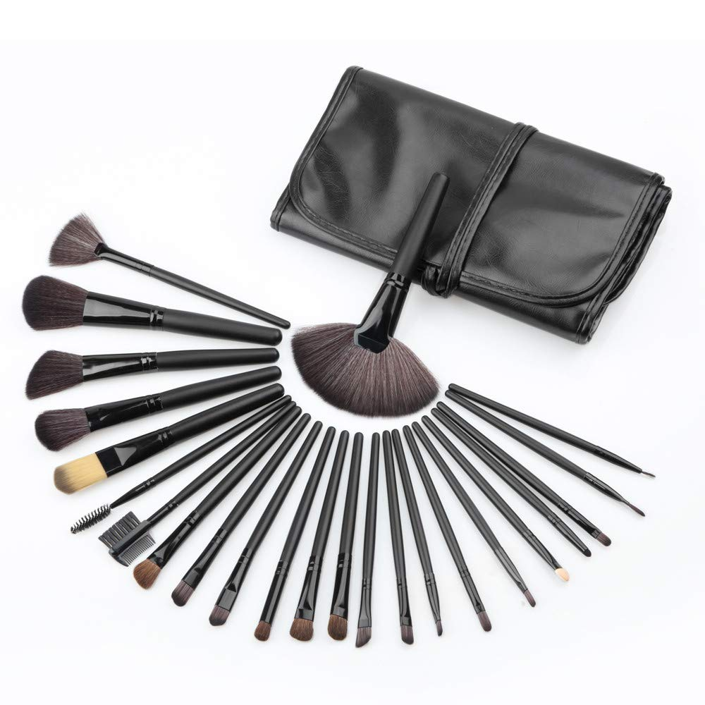 22 Piece Black Makeup Brush Set with Case by EX ELECTRONIX EXPRESS