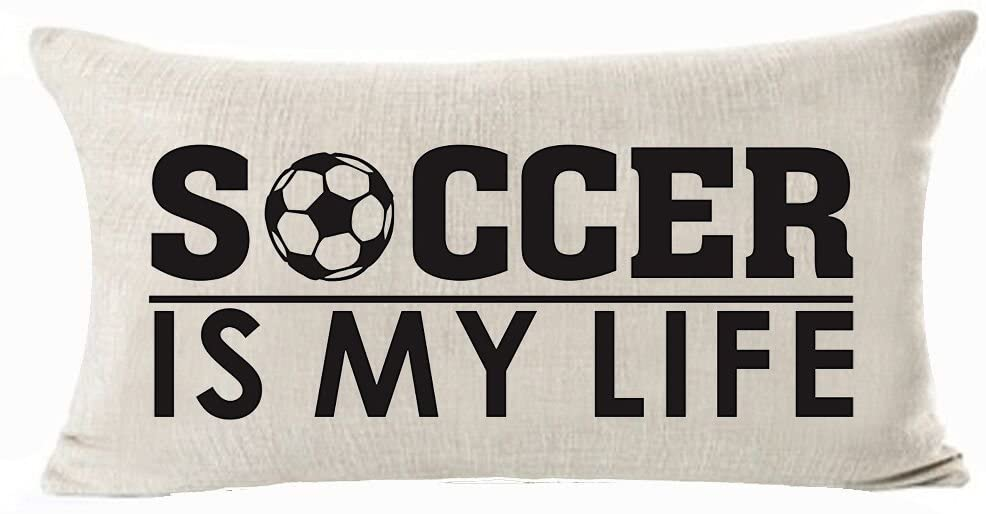 Andreannie Sports Series Vintage Soccer Design Soccer is My Life Cotton Linen Waist Lumbar Pillow Case Cushion Cover Personalized Home Office Decorative Rectangle 12 X 20 Inches