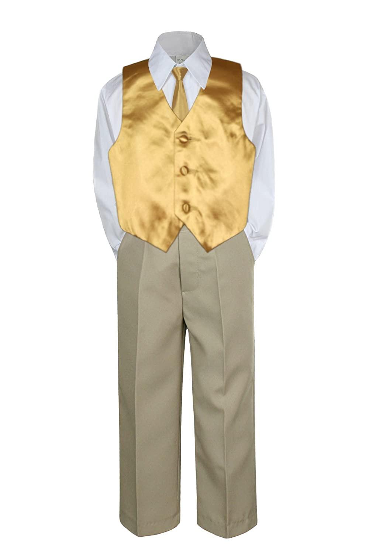 4pc Formal Baby Toddler Boy Gold Vest Necktie Set Khaki Pants Suit S-7 (XL:(18-24 months))