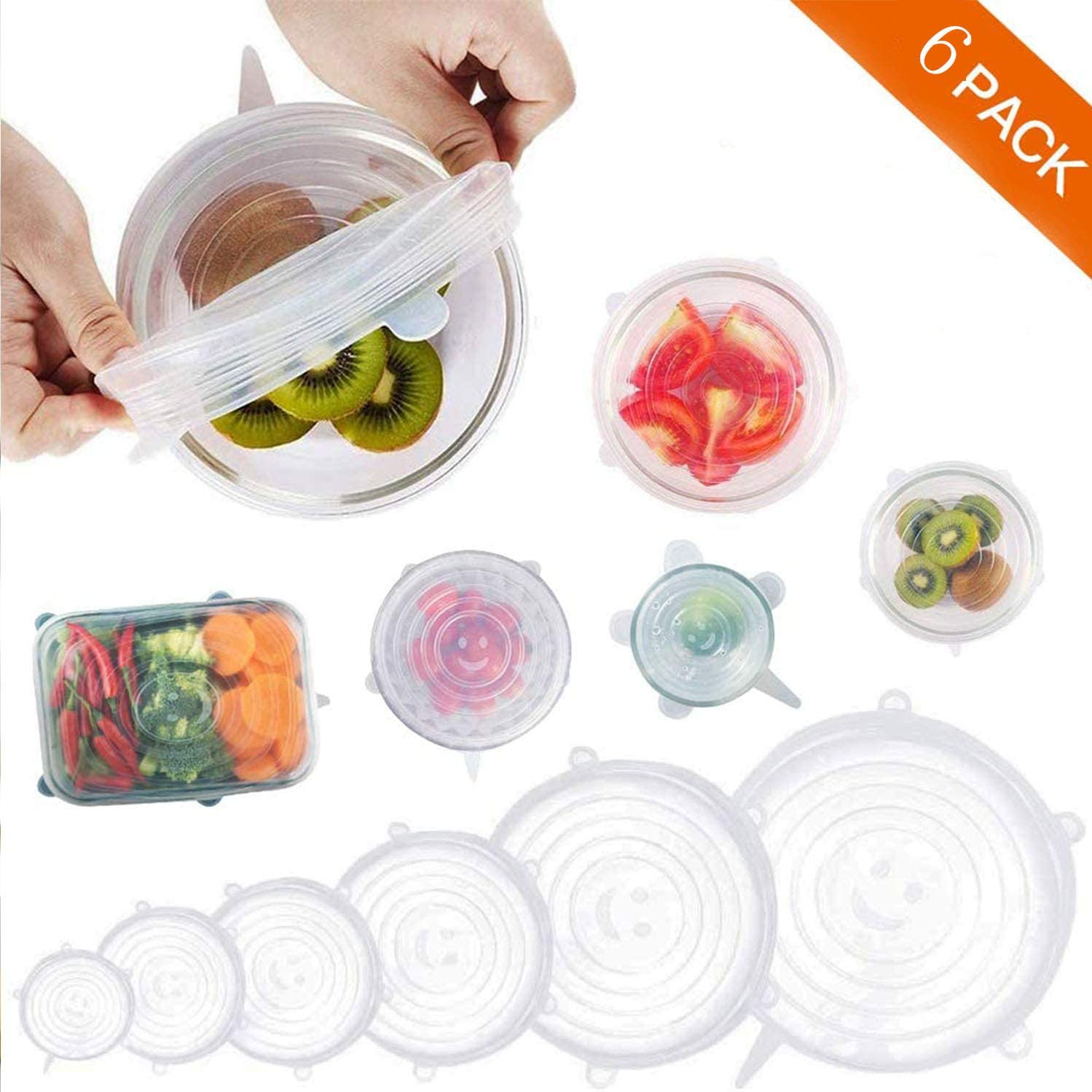 [6 PACK] Dilicone covers, Silicone Stretch Lids, sicone covers for Fresh Food Reusable Durable and Expandable, use for Bowl, Plate, Dishes, Jars, Cups, Oven, Microwave and Freezer