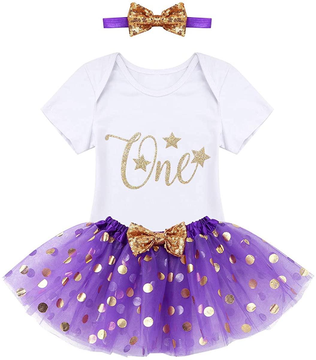 Freebily Toddlers Girls 3PCS Glittery 1st Birthday Romper with Polka Dots Tutu Skirts and Headband Set