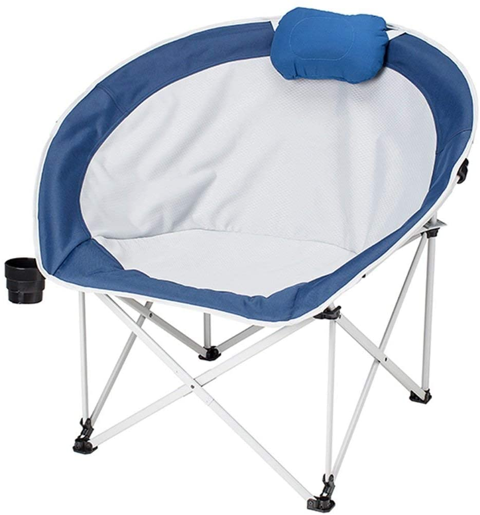KPLMⓇ Blue Lazy Chair Household Patio Leisure Folding Chair Nest Design Lunch Break Moon Chair Outdoor Padded Round Portable Oxford Cloth Fishing Chair with Cup Holder