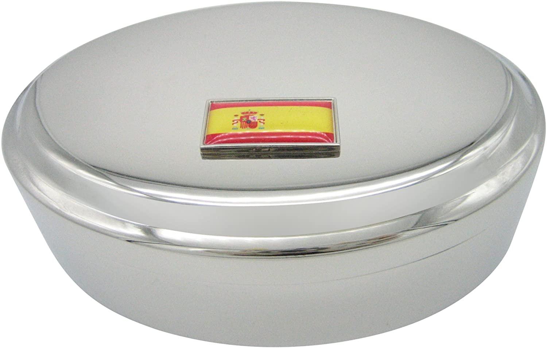 Thin Bordered Spain Flag Pendant Oval Trinket Jewelry Box