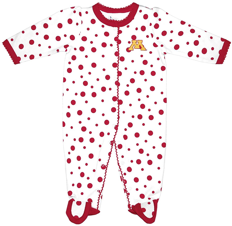 Two Feet Ahead NCAA Minnesota Golden Gophers Infant Polka Dot Footed Creeper Dress, New Born, Crimson