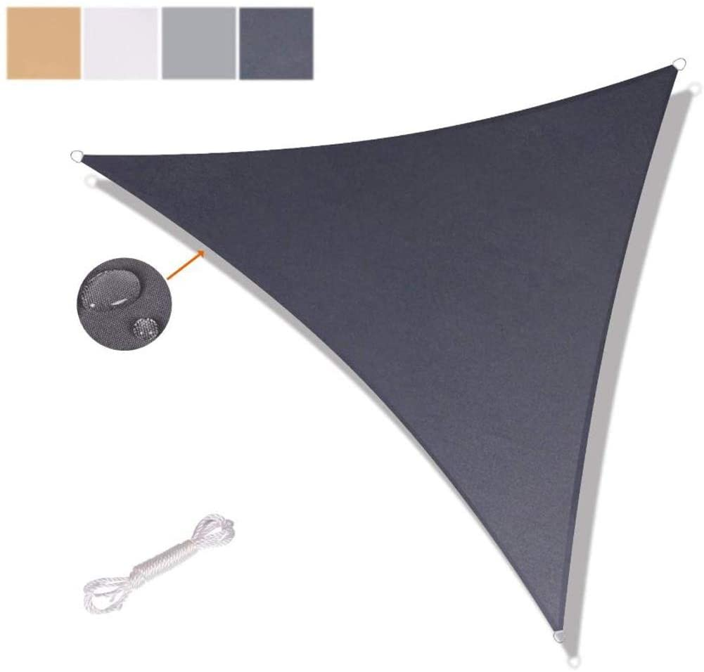 ZXD Triangle Water Resistant Garden Patio Sun Shade Sail Canopy 160gsm PES Polyester with Free Rope UV Block Patio Canopy 4 Colors and 9 Sizes (Color : #4, Size : 3.6x3.6x3.6m)