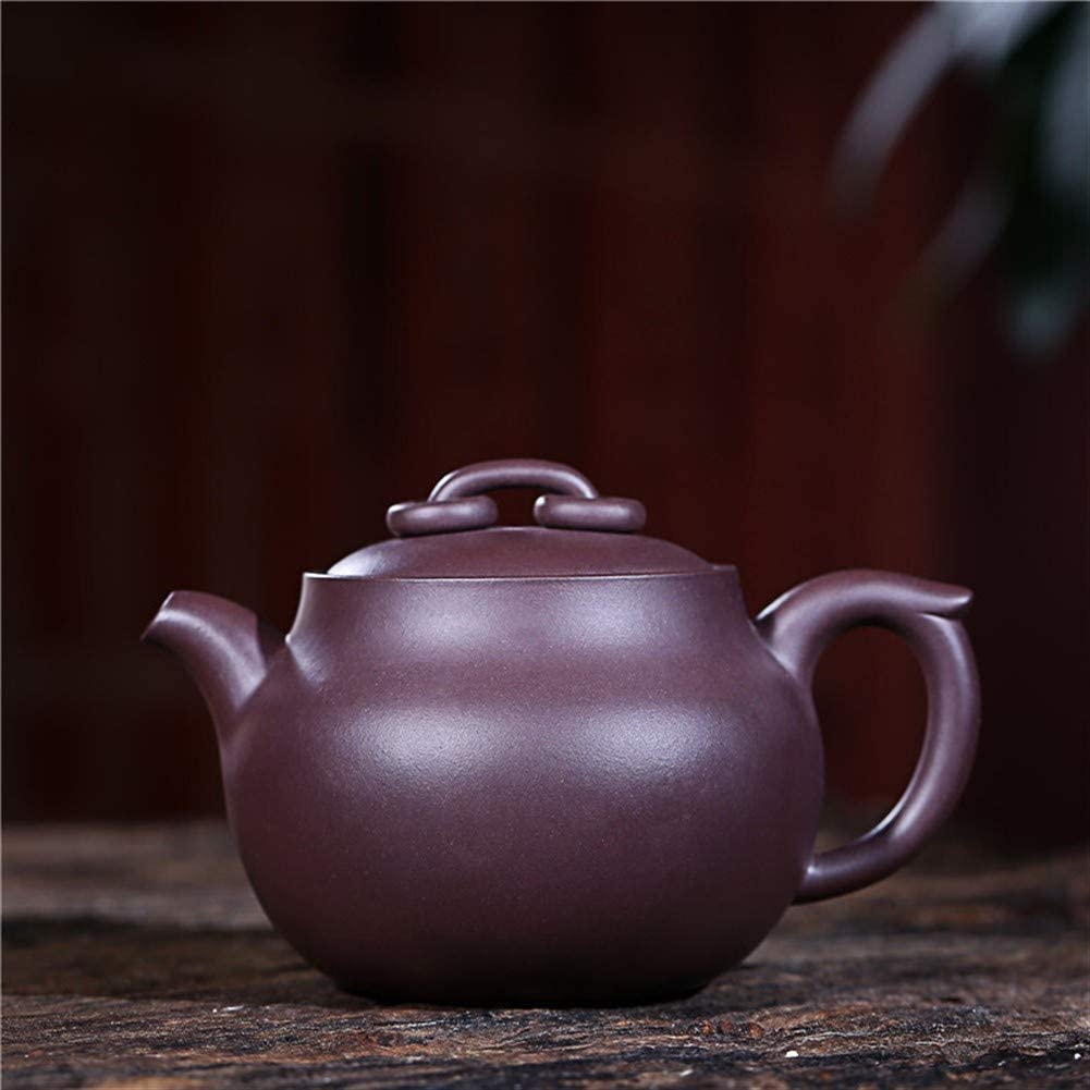 QinMei Zhou teapot ore eggplant purple clay teapot famous handmade works double circle tea (Color : Purple mud)