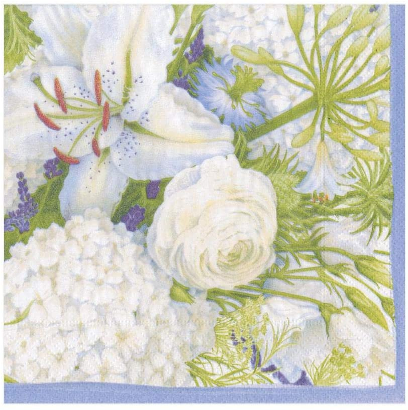 Caspari White Blooms Paper Luncheon Napkins - Two Packs of 20
