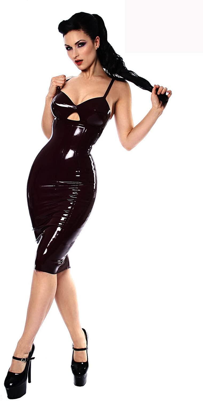 FASHION QUEEN Women's PU Sexy Strap Sleeveless Club Party Midi Bodycon Dresses