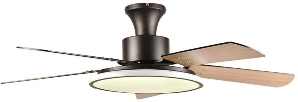 Restaurant Ceiling Fans with Lamp, LED Fan Chandelier, Simple Bedroom Wood Leaf Fan Ceiling Lights, Wall Control Switch, Black (Color : Black, Size : 36in)