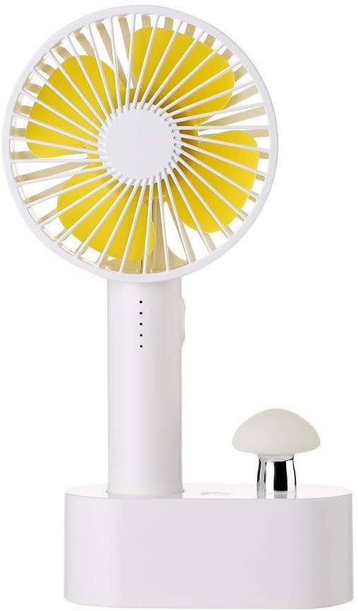 ZQ Multi-Function Mini Fan,Mushroom Table lamp, Night Light,Hand-held Small Fan,Five-Speed Speed Mute Desktop Table Fan,B