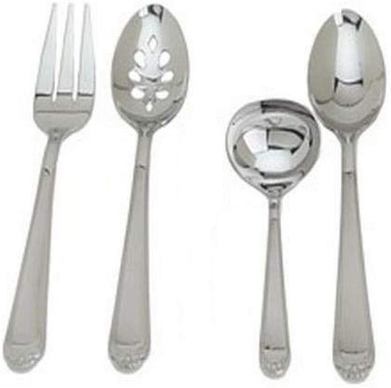 Ginkgo International Coquille Flatware Set, 4 pieces, Silver