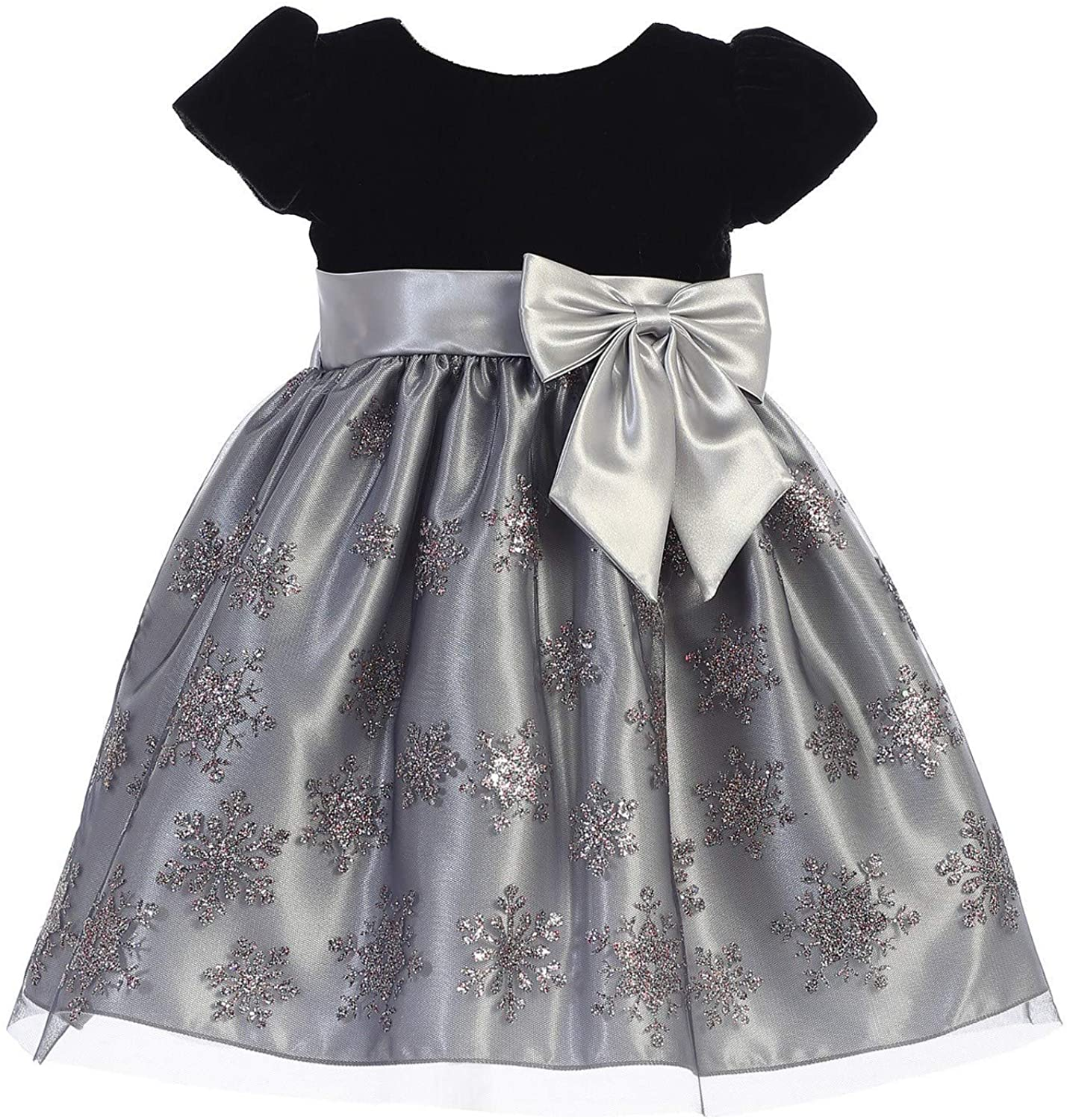 Lito Little Girls Silver Black Velvet Glitter Tulle Christmas Dress 3T