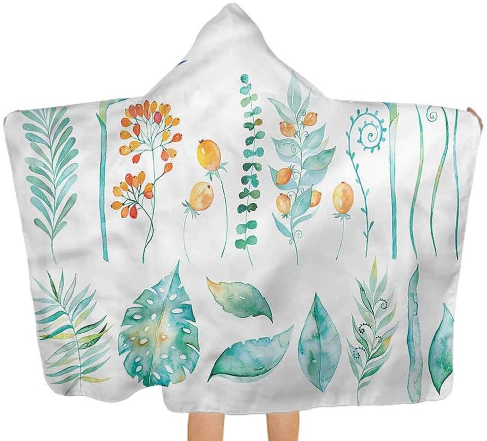 ThinkingPower Hooded Baby Towel Floral, Watercolor Pastel Leaves Toddler/Kids Bath Towels with Hood Ultra Soft and Extra Large 51.5x31.8 Inch