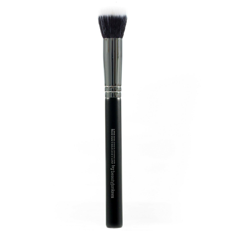 Beauty Junkees Pro mini Duo Fiber Stippling Makeup Brush for Precision Concealer, Color Correcting Blending Liquid, Cream, Powder, Synthetic, Vegan, Cruelty Free, Black, 1 pc