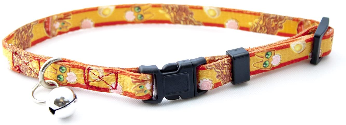 Spoonful of Cats Ramen Cat, Adjustable Snap Buckle Cat Collar with Bell